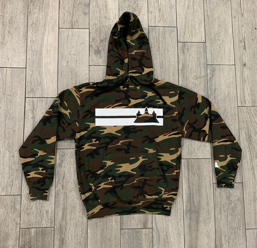 Image of Camo Double Striped Hoodie