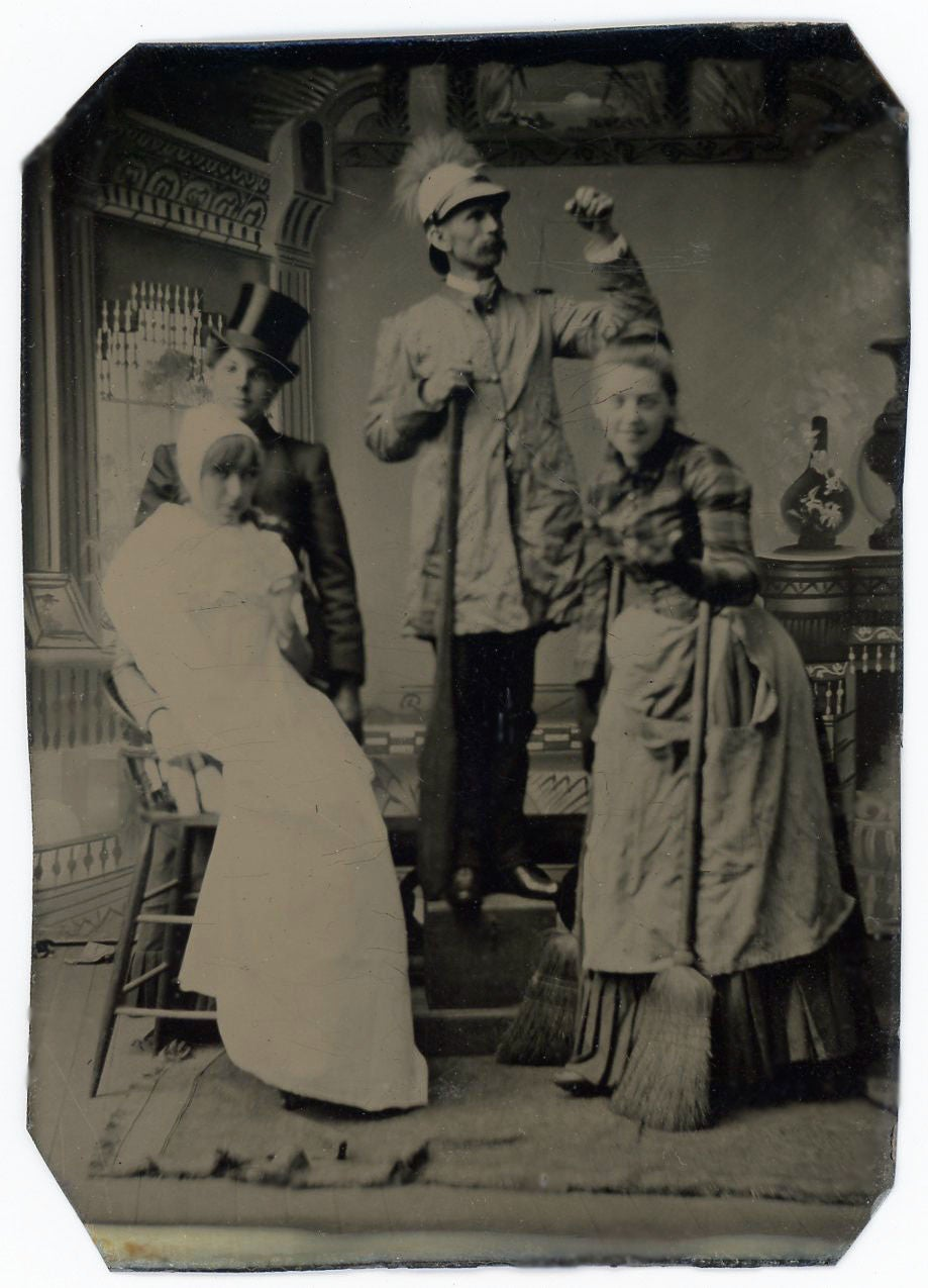Image of Occupational Tintype with four actors posing, ca. 1865