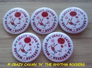 "Image of ""CRAZY CHRISTMAS"" - PACK OF 5 BUTTON BADGES"