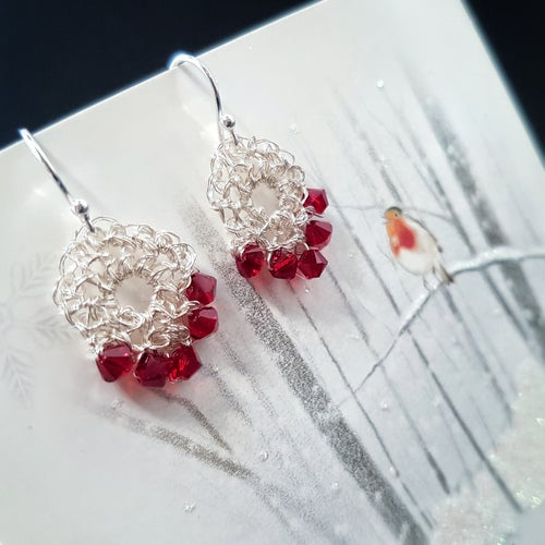 Image of RUBY RED PETITE TEARDROP EARRINGS