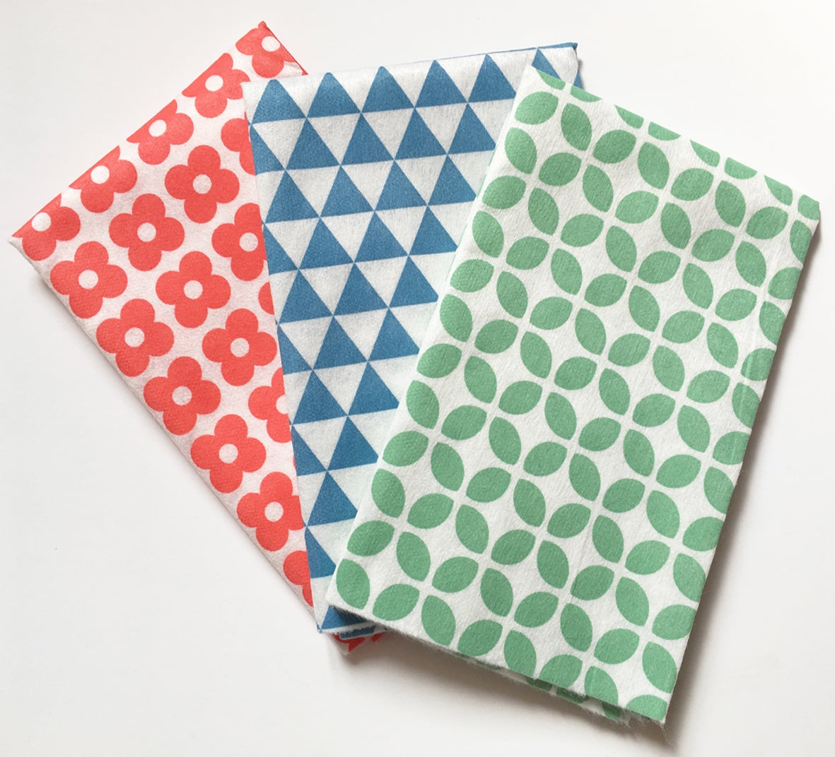 Image of Sustainable Mixed Pattern Ultra Absorbent Cloths - 24 Cloths (8 Red+8 Blue+8 Green)