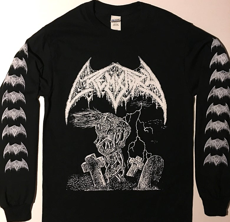 "Image of Crematory "" Wrath from the Unknown "" Long sleeve T shirt with logo sleeve prints"
