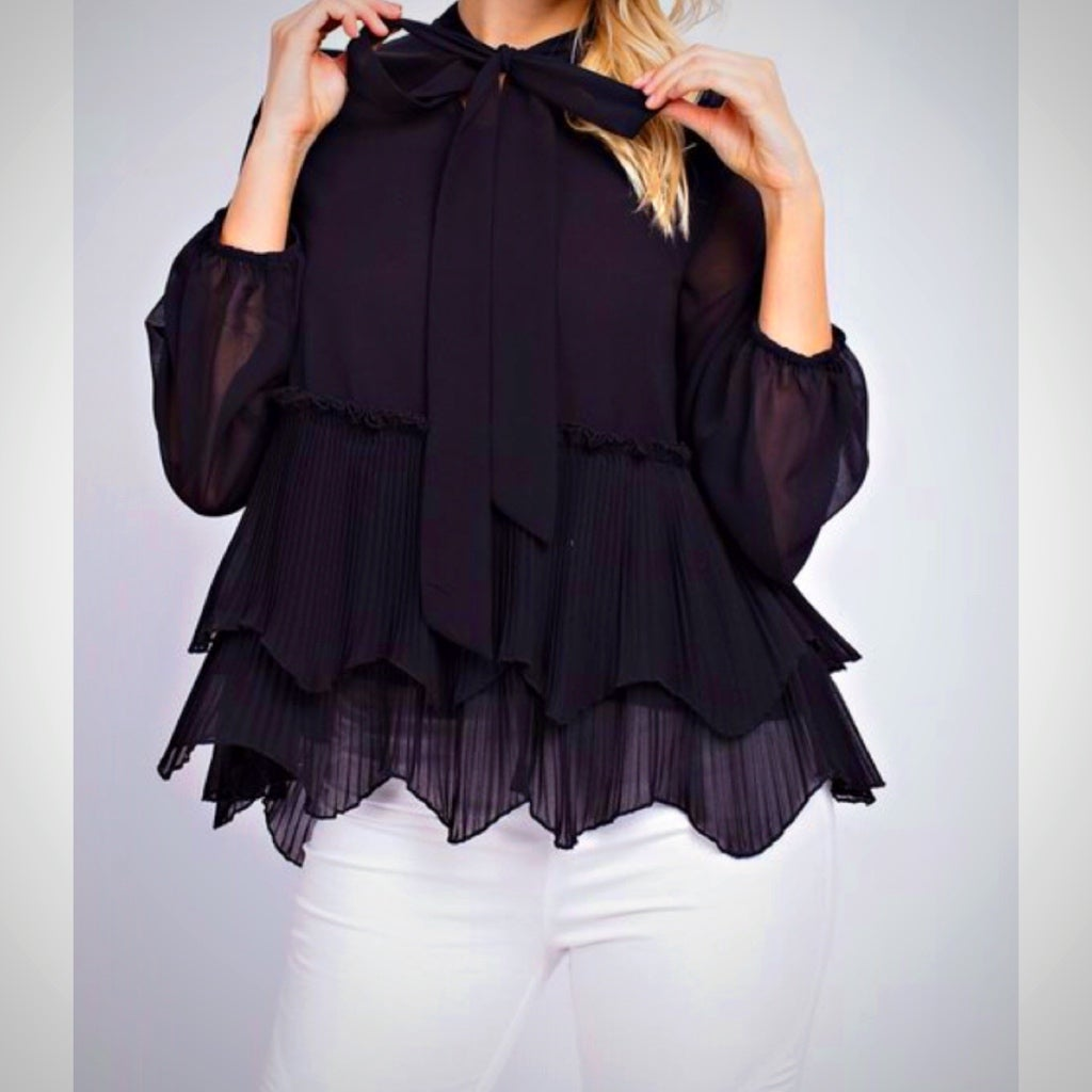Image of MADISON Tie Front Blouse