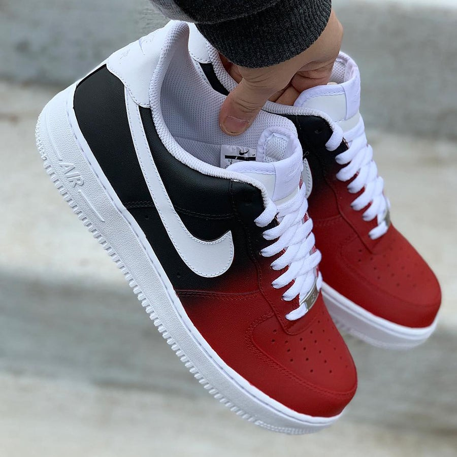 custom black and red air force 1