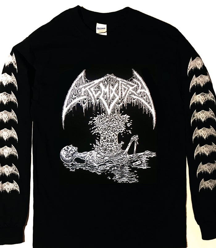 "Image of Crematory "" Exploding Chest "" Long sleeve T-shirt with logo sleeve prints"