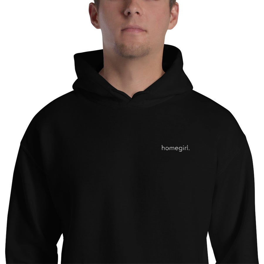 Image of Hooded Sweatshirt (Embroidered Pocket) - White Print