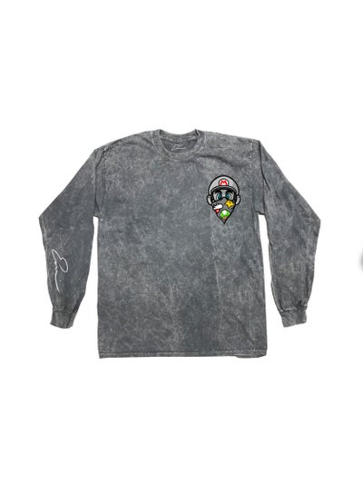 Image of GREY Mario Long Sleeve (MEN ORDER ONE SIZE UP) PRE ORDER, SHIPS WITHIN 2-3 WEEKS