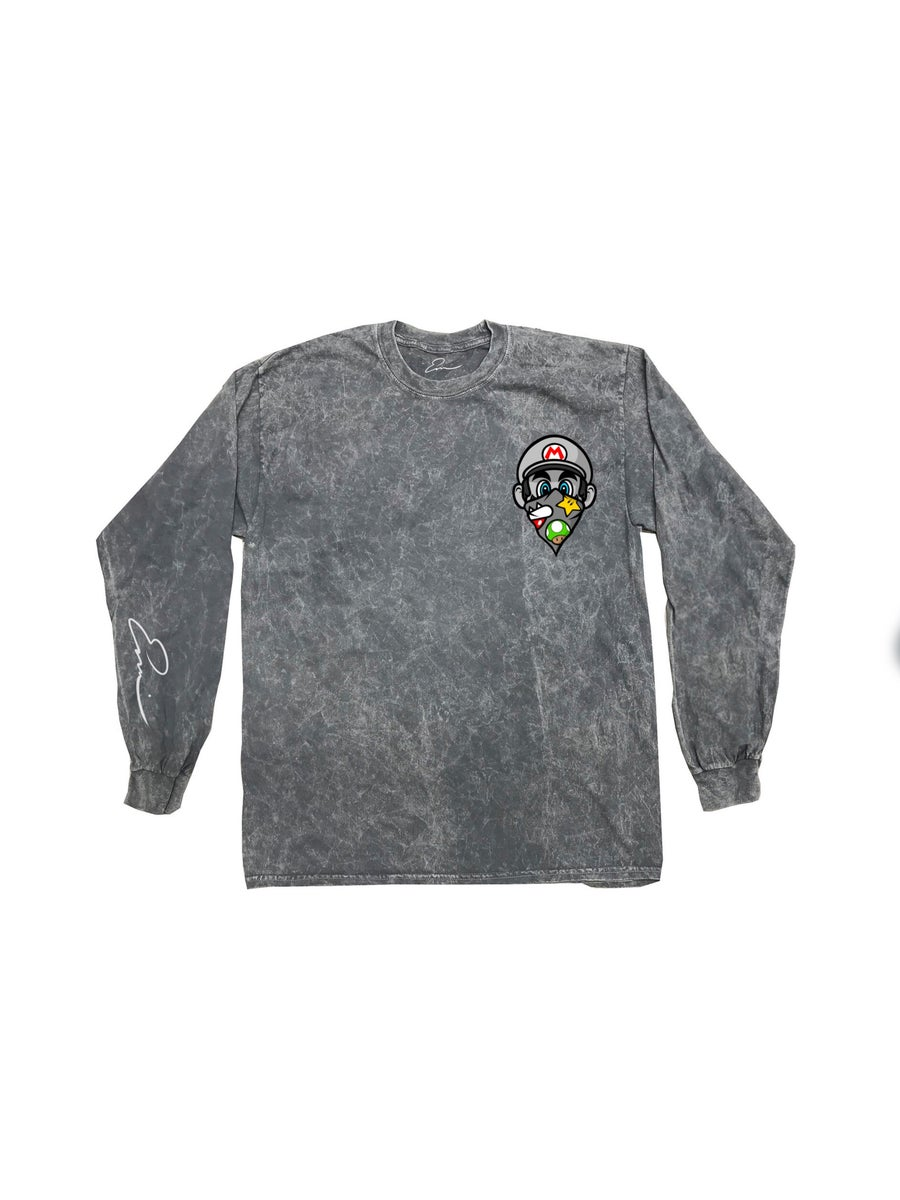 Image of GREY Mario Long Sleeve (MEN ORDER ONE SIZE UP)
