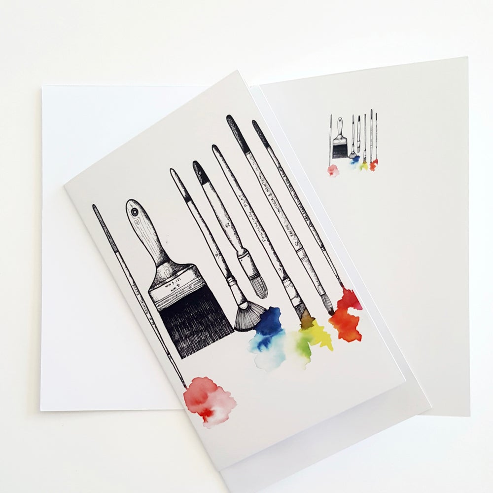 Image of ARTIST BRUSHES GREETING CARD