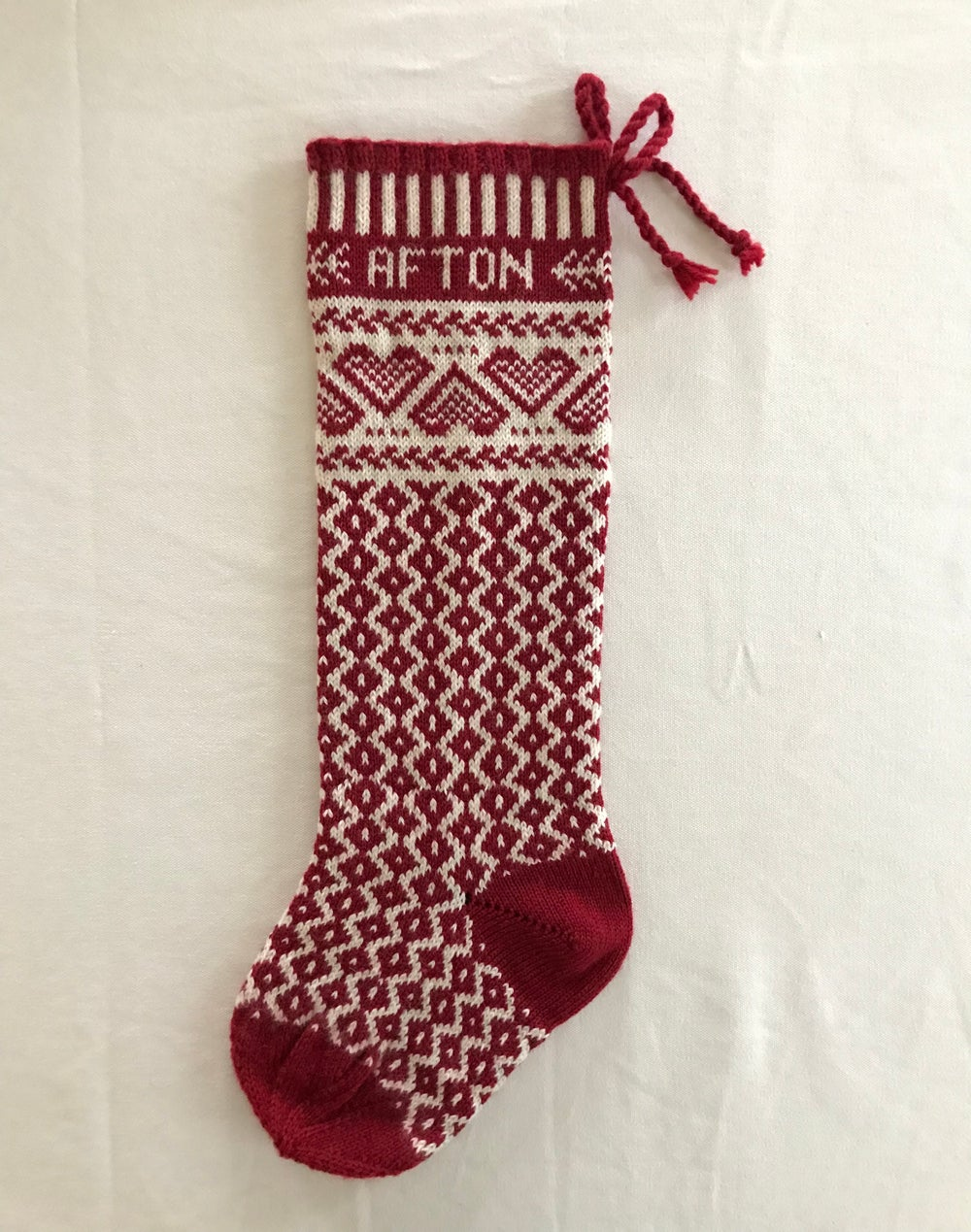 Image of Hearts Christmas Stocking (two color)