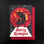Image of Merry Krampus snow greeting cards - 4 pack