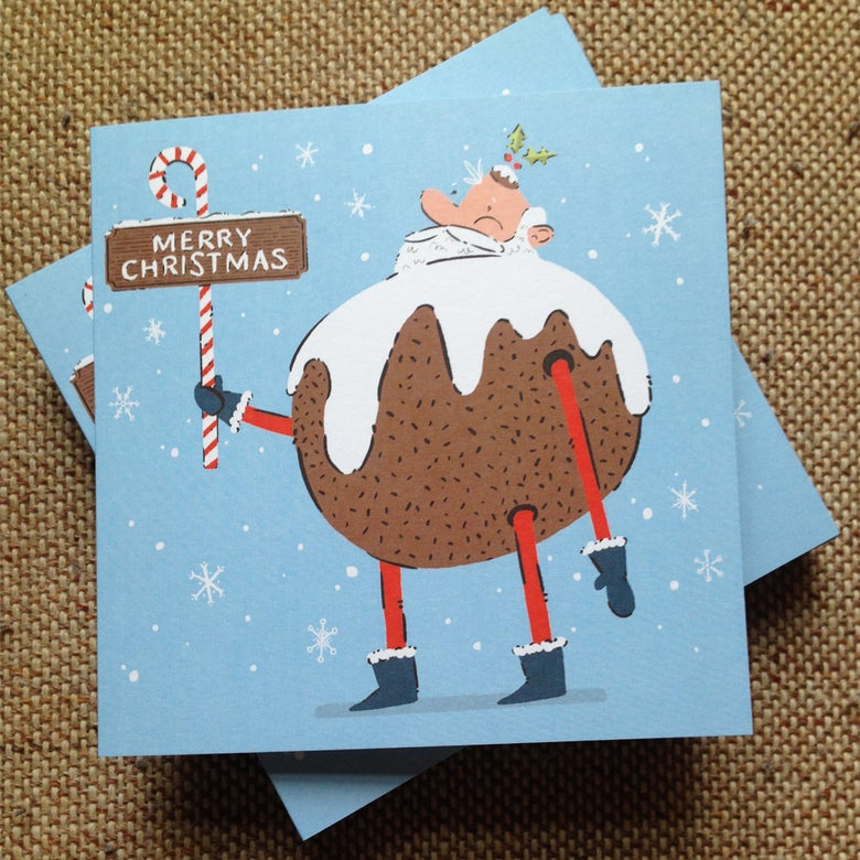 Image of Christmas Pudding Santa Card