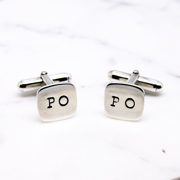 Image of Personalised Cushion Sterling Silver Cufflinks