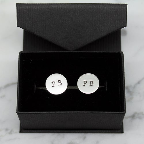 Image of Personalised Disc Sterling Silver Cufflinks