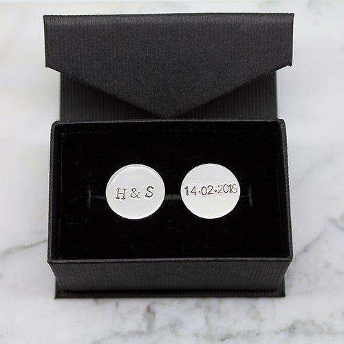 Image of Personalised Round Sterling Silver Cufflinks