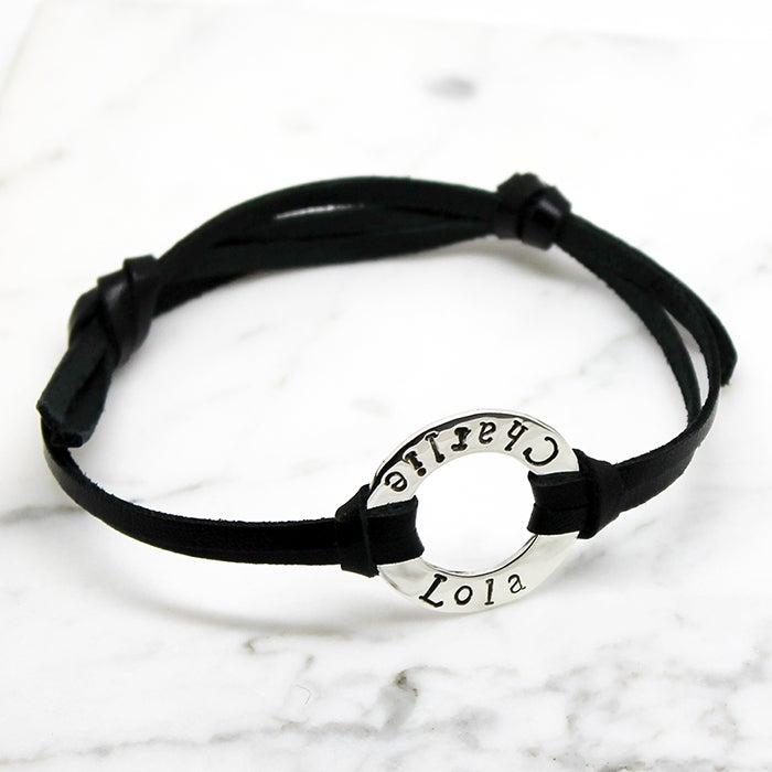 Image of Personalised Circle sterling silver Leather Bracelet
