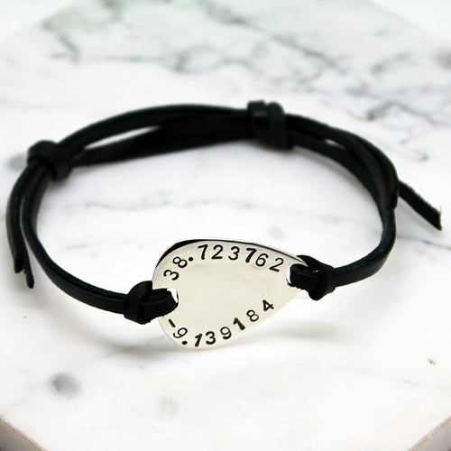 Image of Personalised Guitar pick sterling silver leather bracelet