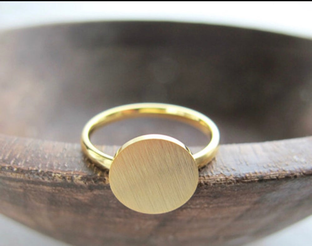 Image of Minimalist geometric round gold plated ring