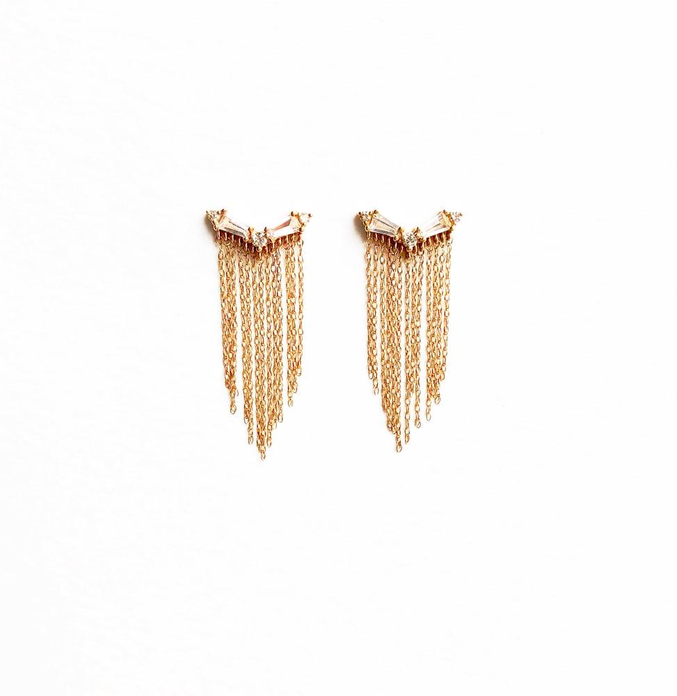 Image of Deco Baguette Fringe Earring