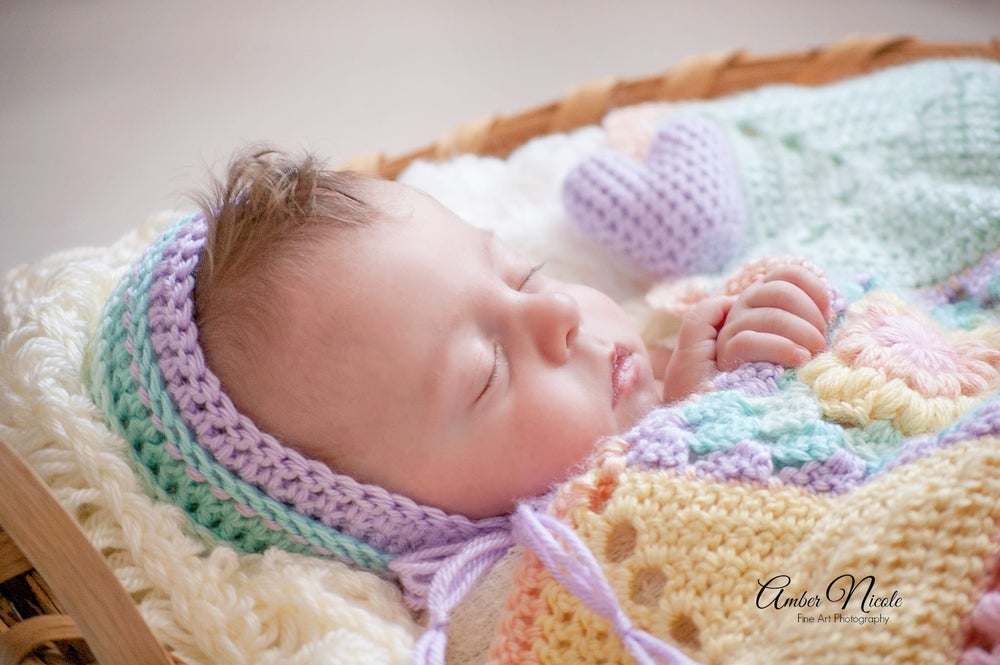 Image of Pastel Rainbow Newborn Photography Prop Bonnet