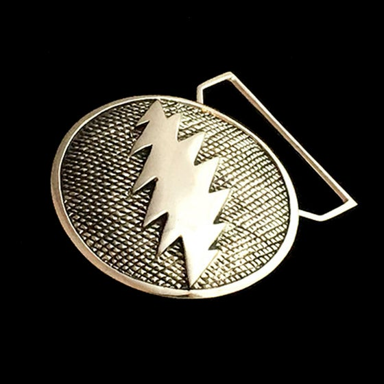Image of Bolt Belt Buckle Cast in White Brass