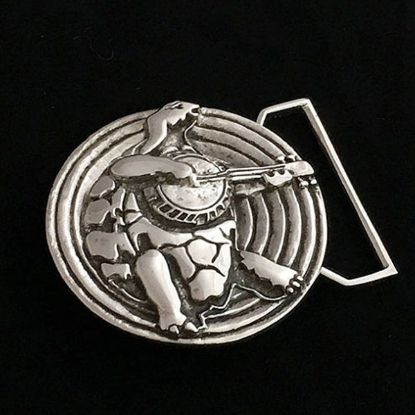 Image of Terrapin Turtle Belt Buckle cast in White Brass