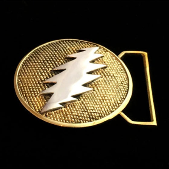 Image of Bolt Belt Buckle cast in Yellow Brass and Sterling Silver