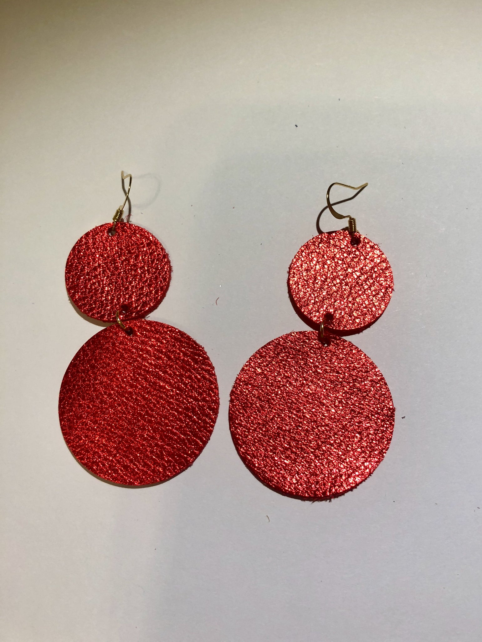 Image of Leather Earrings - Red Metallic Double Dot