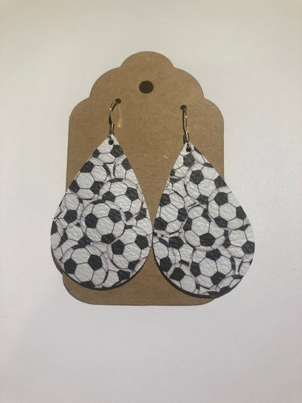 Image of Leather Earrings - Soccer Teardrop