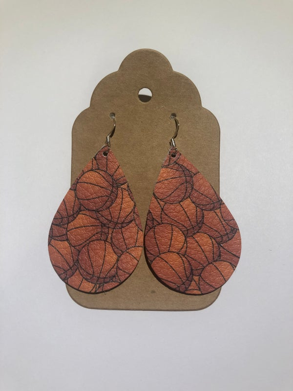 Image of Leather Earrings - Basketball Teardrop