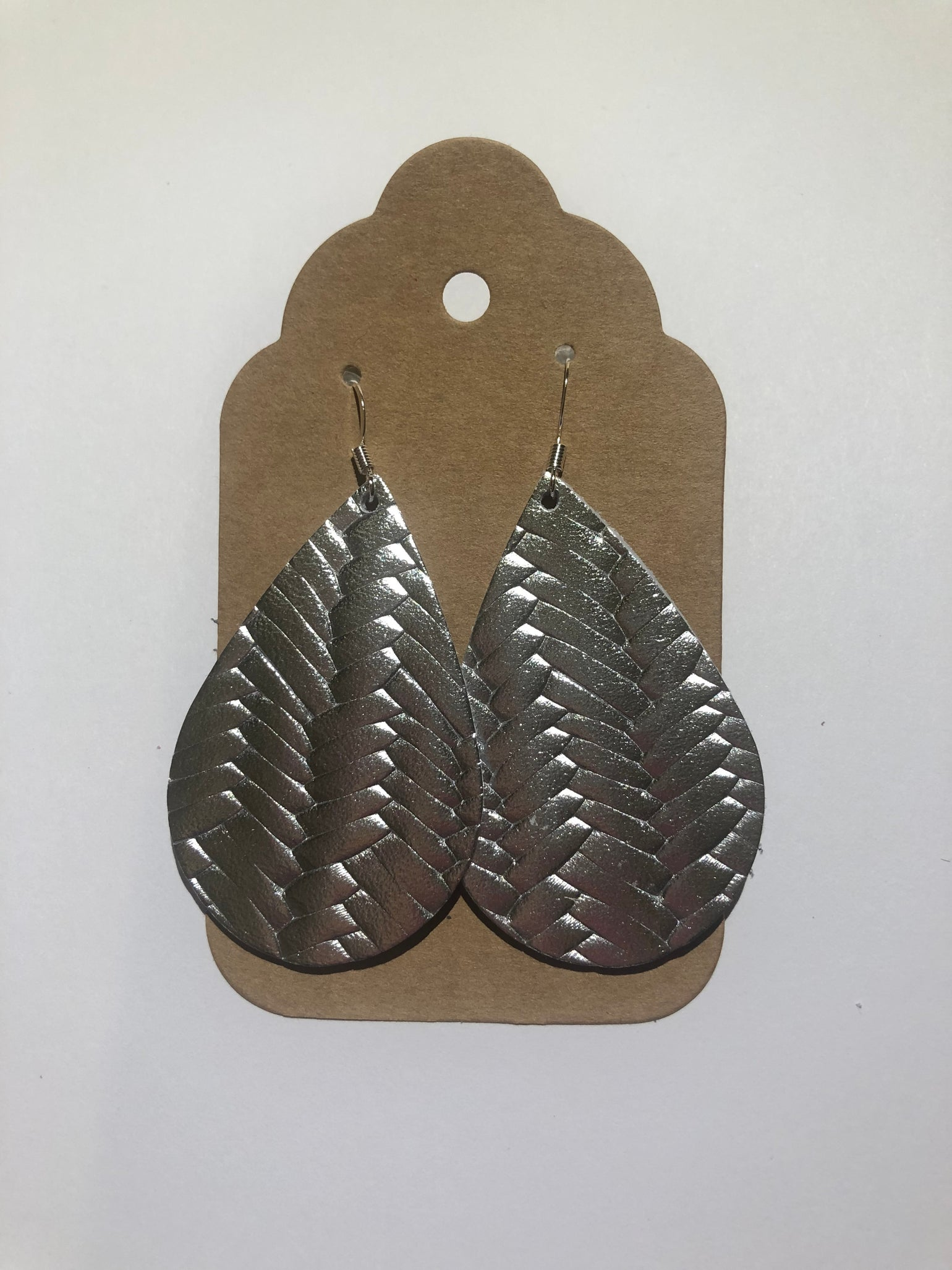 Image of Leather Earrings - Silver Fishtail Basketweave