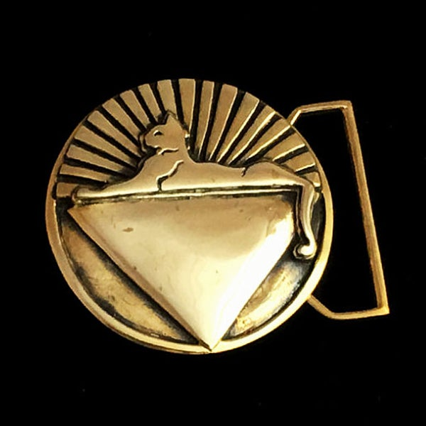 Image of Cats Belt Buckle cast in Yellow Brass