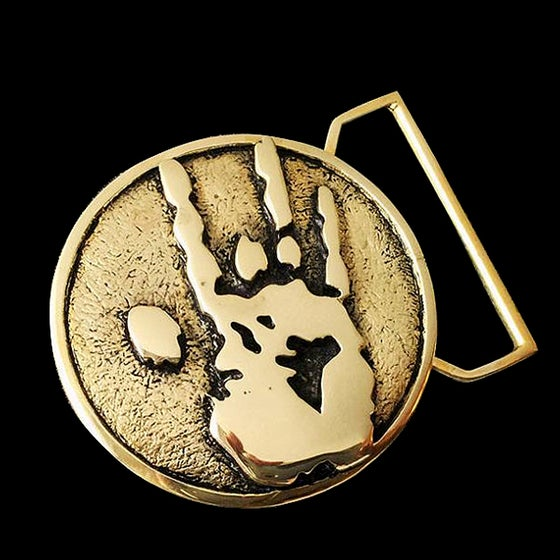 Image of Jerry Hand Print Belt Buckle Cast in Yellow Brass