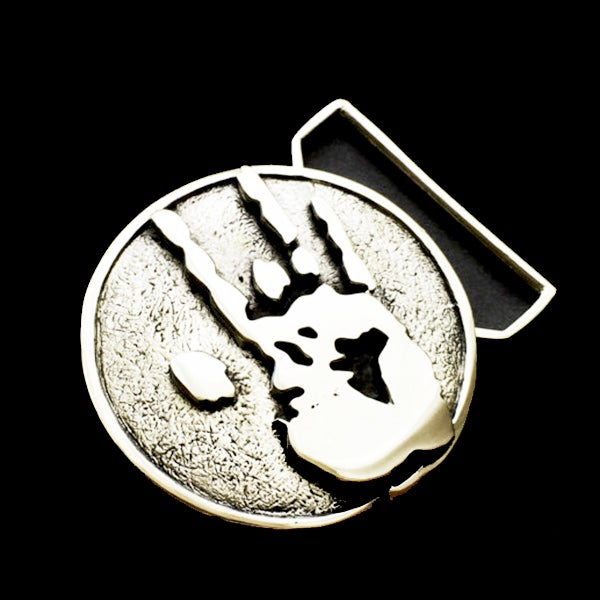 Image of Jerry Hand Print Belt Buckle Cast in White Brass