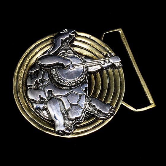 Image of Terrapin Turtle Belt Buckle Cast in Yellow Brass and Sterling Silver
