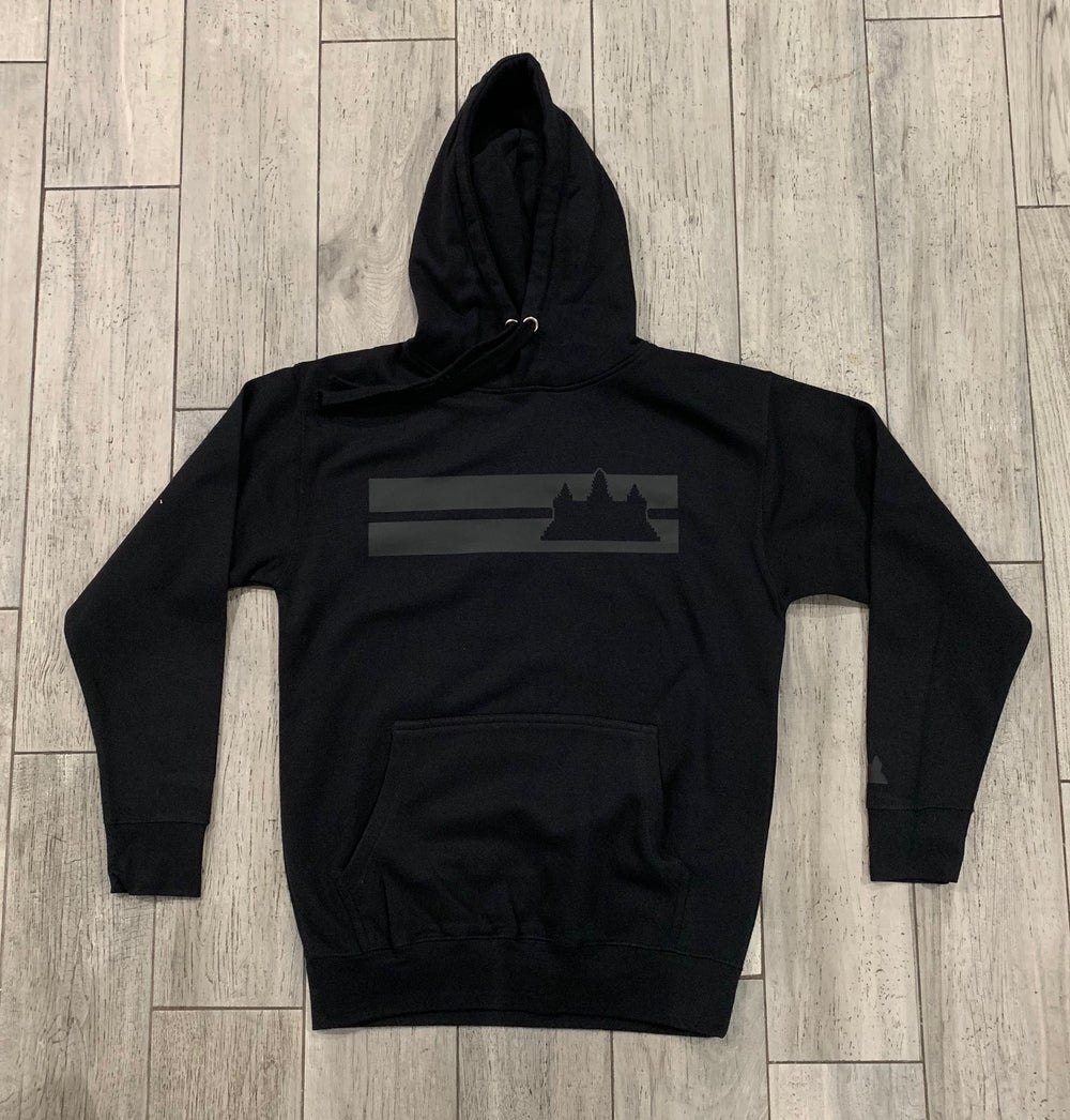 Image of Black on Black Double Striped Hoodie