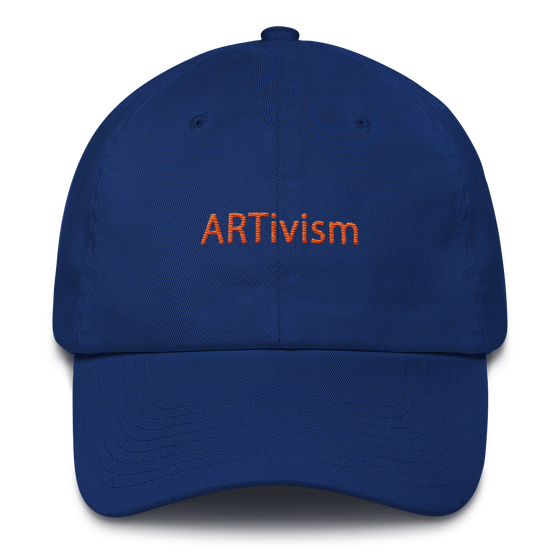 Image of Art Wanderers - ARTivism Orange - Unstructured 6 Panel Flat Embroidery Hat - Royal Blue