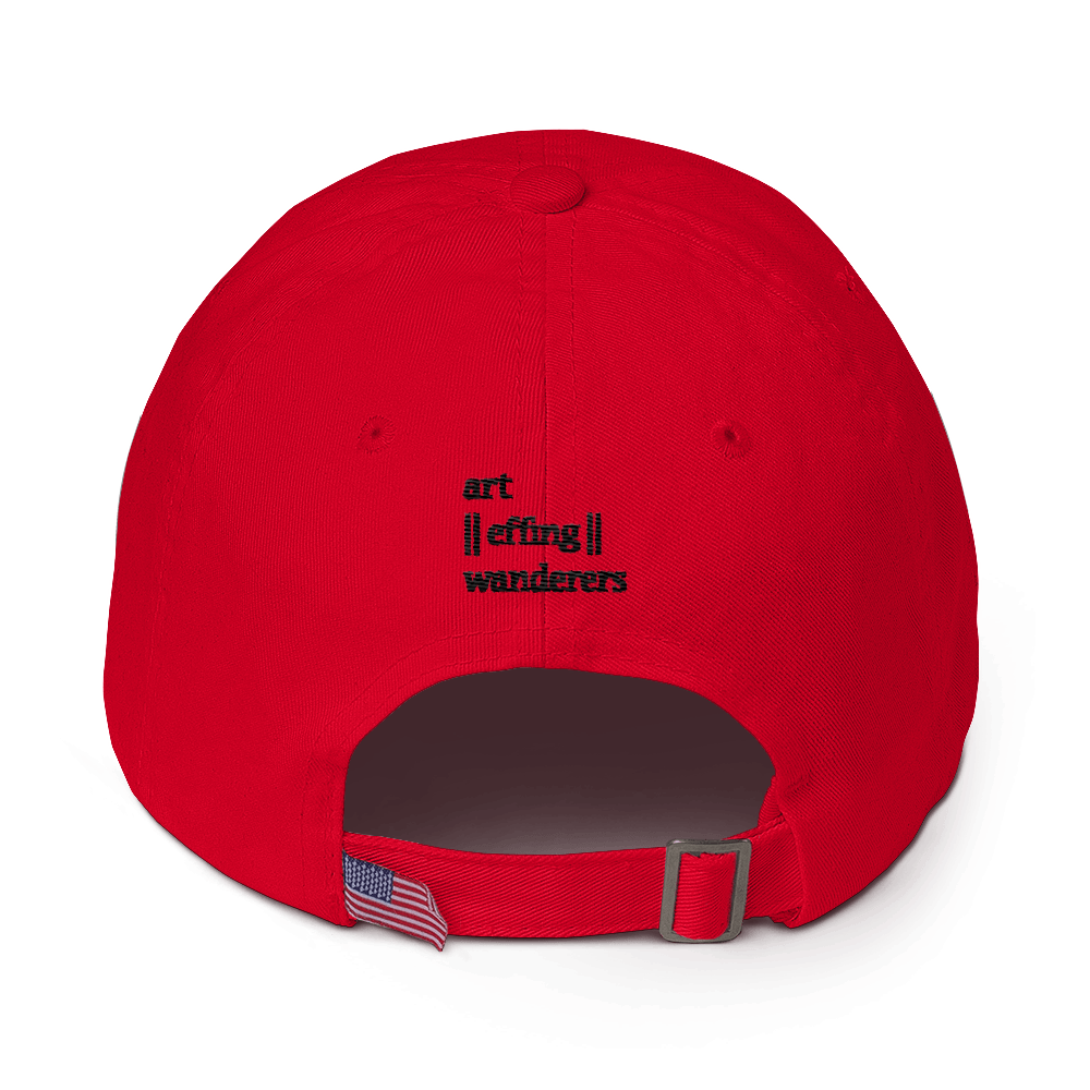 Image of Art Wanderers - Untitled Artwork P4 - Unstructured 6 Panel Flat Embroidery Hat - Red