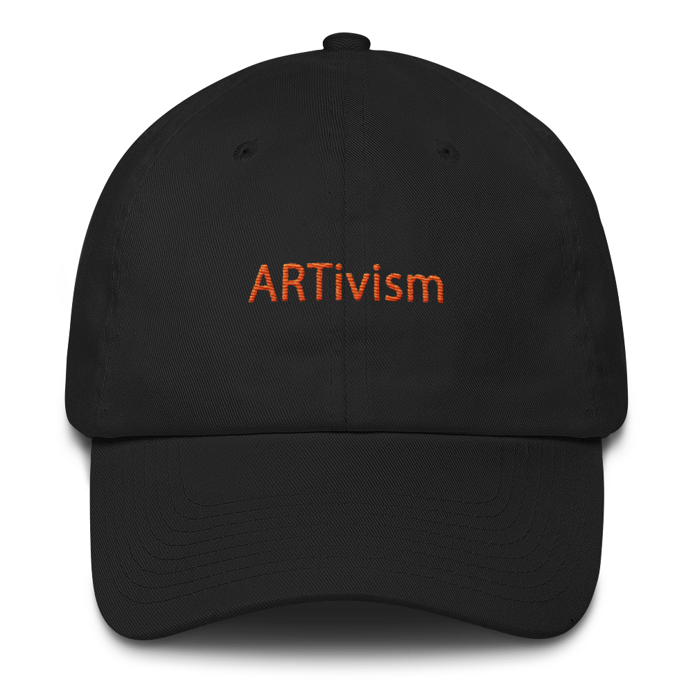 Image of Art Wanderers - ARTivism Orange - Unstructured 6 Panel Flat Embroidery Hat - Black