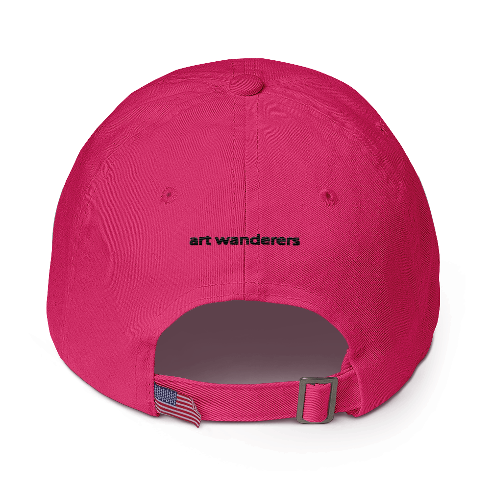 Image of Art Wanderers - Pour Tes Beaux Yeux Artwork - Unstructured 6 Panel Flat Embroidery Hat - Bright Pink