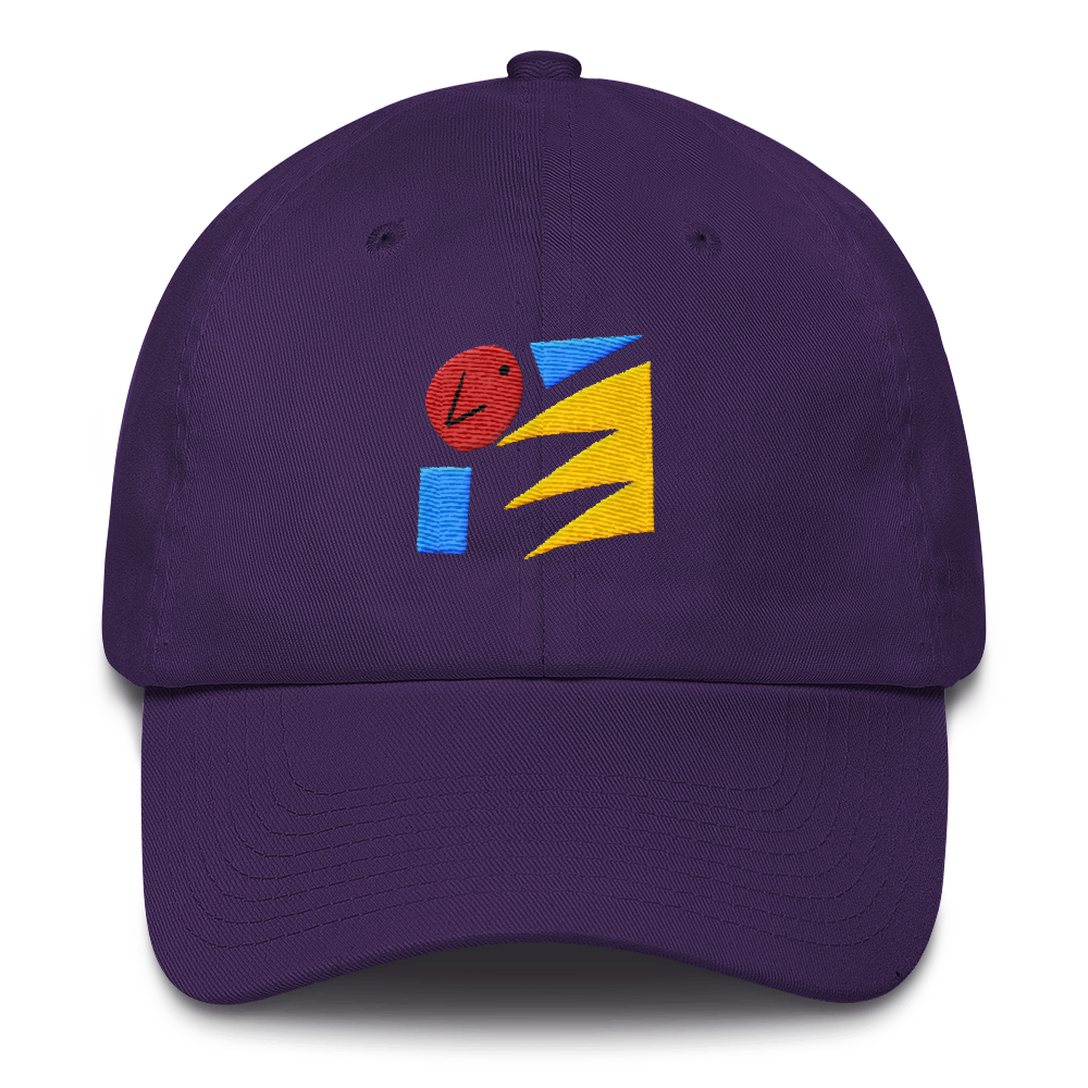 Art Wanderers - Untitled Artwork P45 - Unstructured 6 Panel Flat Embroidery Hat - Purple