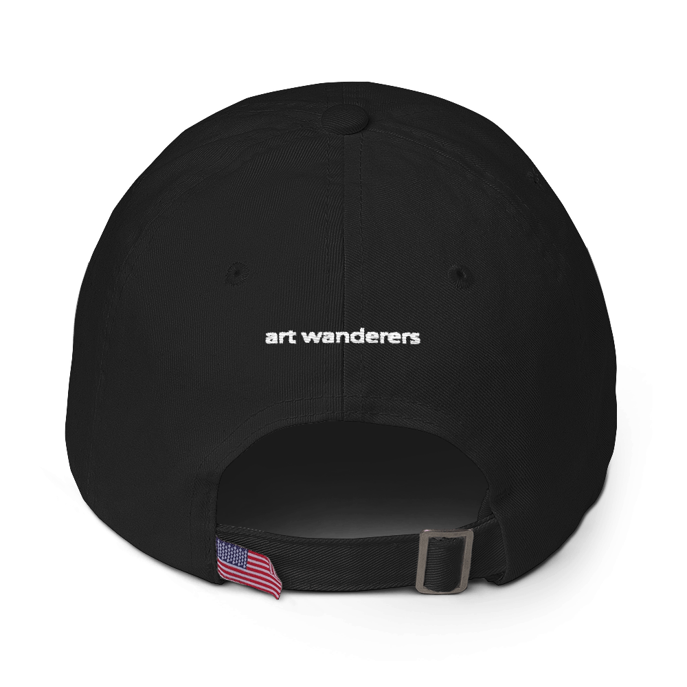 Image of Art Wanderers - Untitled Artwork P45 - Unstructured 6 Panel Flat Embroidery Hat - Black