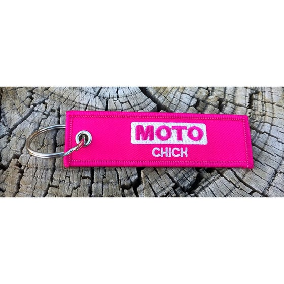 Image of Moto Chick Key Tag Key Chain