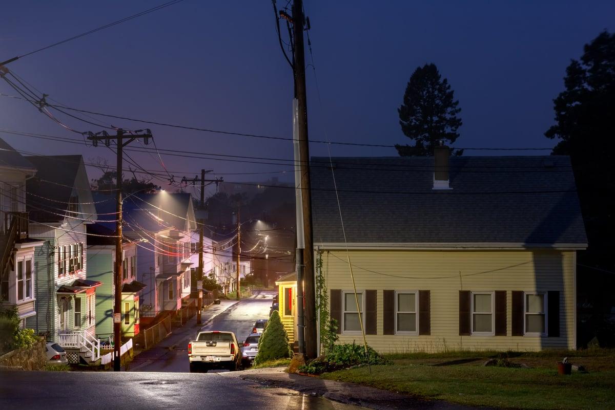 Image of OAK STREET, GLOUCESTER, MA. DAWN.