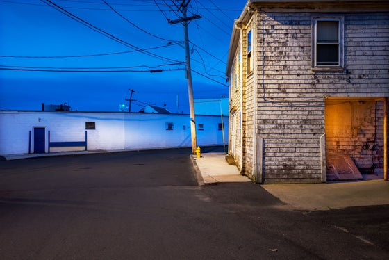 Image of HARBOUR AREA, GLOUCESTER MA. DUSK.
