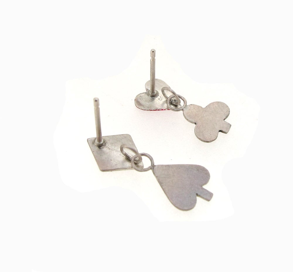 Image of {NEW} Wonderland Playing Card Enamel Heart Suit Earrings