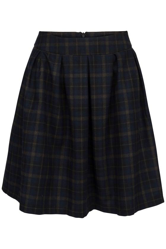 Image of Blå ternet uld nederdel
