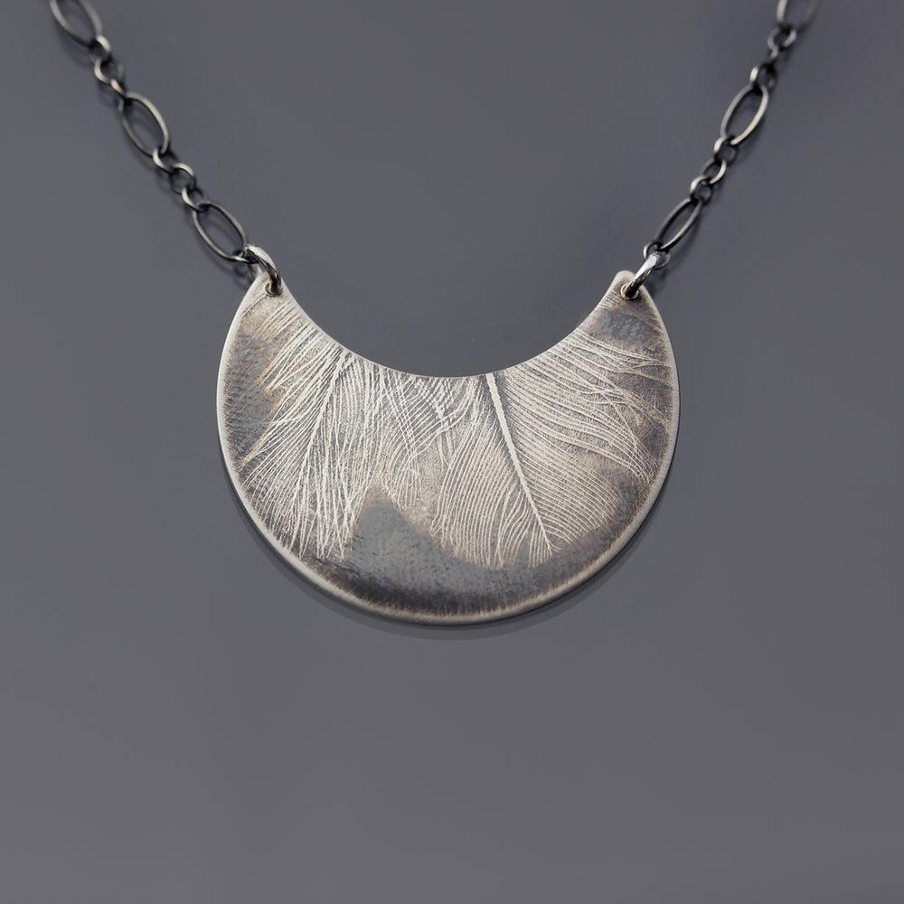 Image of Sterling Silver Feather Crescent Necklace
