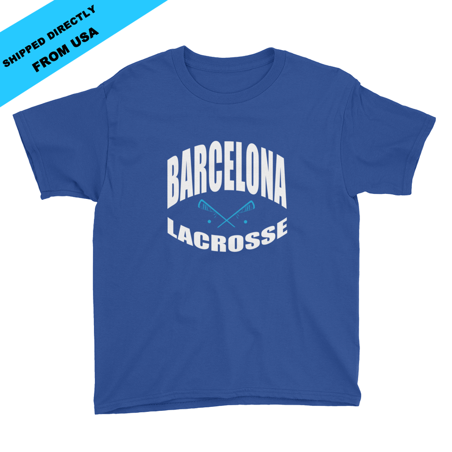 Image of Youth Barcelona Lacrosse T-shirt - blue