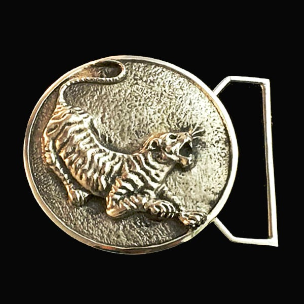 Image of The Tiger Belt Buckle Cast in White Brass